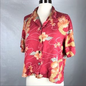 Tommy Bahama Silk Hawaiian Floral Blouse